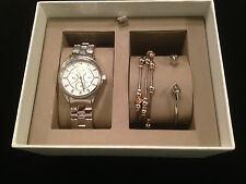FOSSIL WOMENS WATCH + 2 BRACELETS GIFT BOX SET SILVER & ROSE GOLD TONE * BQ3077