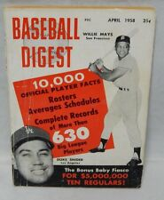Baseball Digest April 1958 Magazine Willie Mays Duke Snider San Francisco LA