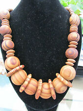 "A LARGE CHUNKY DARK WOODEN BEAD & DISC NECKLACE. 26"" + EARRINGS."