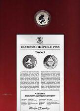 Türkei - Olympiade Calgary 1988 - PP - Silber 925 ( 25114 )