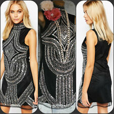 black silver bead sequin boohoo 20s deco gatsby flapper evening dress 10 38