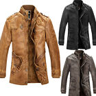 Mens Designer PU Leather Biker Style Jackets Winter Warmer Outwear Coats Jackets