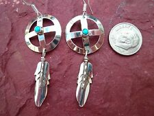 Native American Sterling Silver & Turquoise Medicine Wheel Earrings