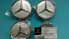 4x Genuine Mercedes Benz Alloy Wheel Centre Cap Silver/Chrome B66470202