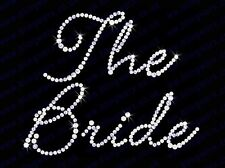 "Diamonte Hotfix Wedding Transfers Rhinestones iron On Motif "" The Bride "" - S 1"
