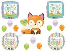 WELCOME BABY Woodland Friends Shower Balloons Decoration Supplies Fox Chevron