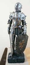 "HEAVY ARMOR MEDIEVAL KNIGHT SWORD AND SHIELD FIGURINE WITH BASE LARGE 29"" TALL"