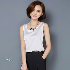 Ladies Satin Vest Plain Sleeveless Loose Sweat Shirt Camisole Blouse Top Stylish