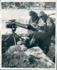 1952 Korean War US Soldiers Read Newspaper By 75mm Recoilless Rifle Press Photo