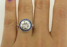 2.75ct Vintage Art Deco White & Blue Sapphire 925 Silver Engagement Ring
