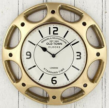 Hubcap design Wall Clock from Pacific, Vintage Style Antique Brass. New. 41 cm