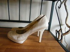 "Nine West Textile Upper Satin Look Light Tan Heel size 12m, 5"" heel  worn once"