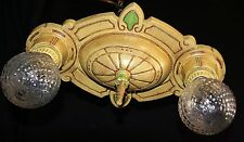 VTG ART DECO ERA VICTORIAN CAST METAL FLUSH MOUNT CHANDELIER CEILING FIXTURE