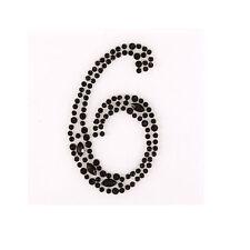 """2x """"6"""" selbstklebend  zum aufkleben Schwarz Strassstein Nummern Edelsteine"""