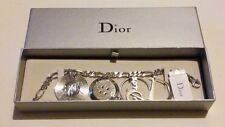 AUTHENTIC Christian Dior LOGO/SYMBOL Rhodium Plated Charm Bracelet Boxed*****