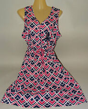 GAP Cotton Summer Dress Sleeveless Graphic Print Pink Navy Blue White New Tags L