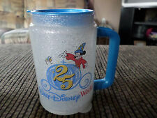 Walt Disney World Insulated Mug Cup 25 Years Handle Lid Mickey Mouse Glitter