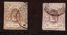 LUXEMBOURG 2 timbres anciens oblitérés, NON DENTELE, blasons ,25 et 30 cts E247