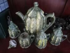 Porcelain Ceramic Squash Gourd Tea Set w/ Teapot + 4 Cups Never Used