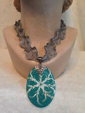 """21"""" Choker Necklace, Turquoise Abalone Shell, STERLING SILVER 2.5"""" Titanium Mesh"""