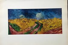 """1950 Vintage Full Color Art Plate """"CROWS OVER THE WHEAT FIELD"""" VAN GOGH Litho"""
