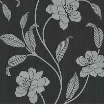 P+S International Claremont Textured Black And Silver Floral Wallpaper  18153-20