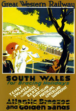 GWR South Wales  Bracing Holidays Atlantic Breezes & Golden Sands  Poster Print