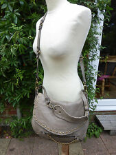 Abaco France taupe lambs leather shoulder bag across body bag studs chain