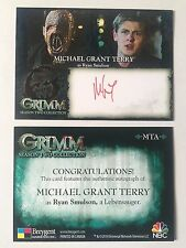 GRIMM SEASON 2 AUTOGRAPH CARD Michael Grant Terry as Ryan Smulson, a Lebensauger