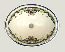 #087) MEDIUM 17x14 MEXICAN BATHROOM SINK CERAMIC DROP IN UNDERMOUNT BASIN