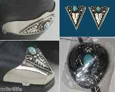 Set of Western Cowboy Boot heel & Tip, Collar Tips & Bolo Tie Turquoise, Silver