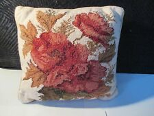 "ROSE ROSEBUD NEEDLEPOINT BY HAND WOOL CANVAS 12"" X 12"" PILLOW"