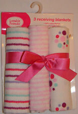 New Luvable Friends Pink Stripes Dots Baby Girl Flannel Receiving Blankets