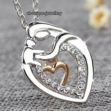 MUM Rose Gold & Silver Heart Love Necklace Mother's Day Xmas Gifts For Her Women