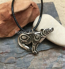 Antique Silver Plt Tribal Howling Wolf Pendant Necklace, Ladies Mens Gift  Norse
