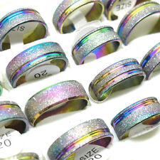 Wholesale 10Pcs Fashion Stainless Steel Rainbow Color Lines Scrub Rings T01