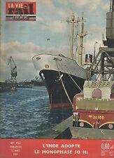 la vie du rail N°738 du 13 mars 1960 l'inde adopte le monophasé 50 hz