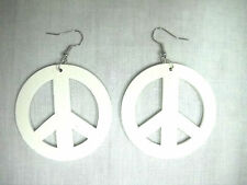 NEW LARGE BRIGHT WHITE PEACE SIGN SYMBOL WOODEN DANGLING HOOK POST EARRINGS