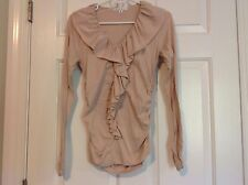 CABI WOMEN LONG SLEEVES BEIGE NUD RUCHED SIDE RUFLES Shirt SZ S Style # 185 EUC