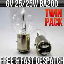 6V 25/25W BA20D HEADLIGHT / HEADLAMP BULB BOSCH STYLE FITTING R392 TWIN PACK
