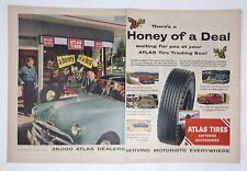 Original Print Ad 1953 ATLAS TIRES Dealers Honey of a Deal Service
