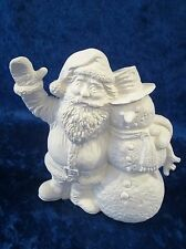 Ready to Paint Ceramic Bisque Santa & Snowman unpainted; U-paint