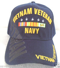MILITARY CAP VIETNAM VETERAN NAVY W/SHADOW-NAVYBLUE**FREE SHIPPING***