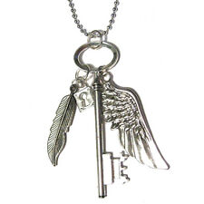 HUGE Key with lock Angel Wing and feather Pendant Silver Plated Cluster Necklace
