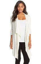 NEW Barefoot Dreams® Cable Knit Drape Front Cardigan - White size S/M