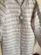 ZARA Beige Pearl Long Quilted Lightweight Down Puffer Coat Jacket Medium M