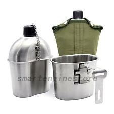 Stainless Steel Army Military Patrol Water Bottle Canteen+Green Cover+Cup US