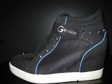 G by Guess Womens Wedge Shoes Black With Blue Trim Silver Metal Spikes 8.5M