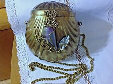 Vintage Antique ART DECO  Brass Clam Shell with Amethyst Stone Purse Handbag