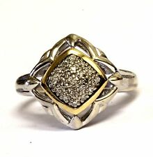 925 sterling silver 10k yellow gold womens .10ct diamond cluster ring 4g ladies